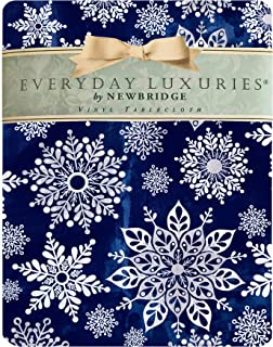 """Newbridge Winter Sparkle Snowflake Navy and Silver Vinyl Flannel Backed Tablecloth - Navy Glitter Snowflake Print Wipe Clean Easy Care Holiday Tablecloth, 52"""" x 70"""" Oblong/Rectangle, Navy/Silver"""
