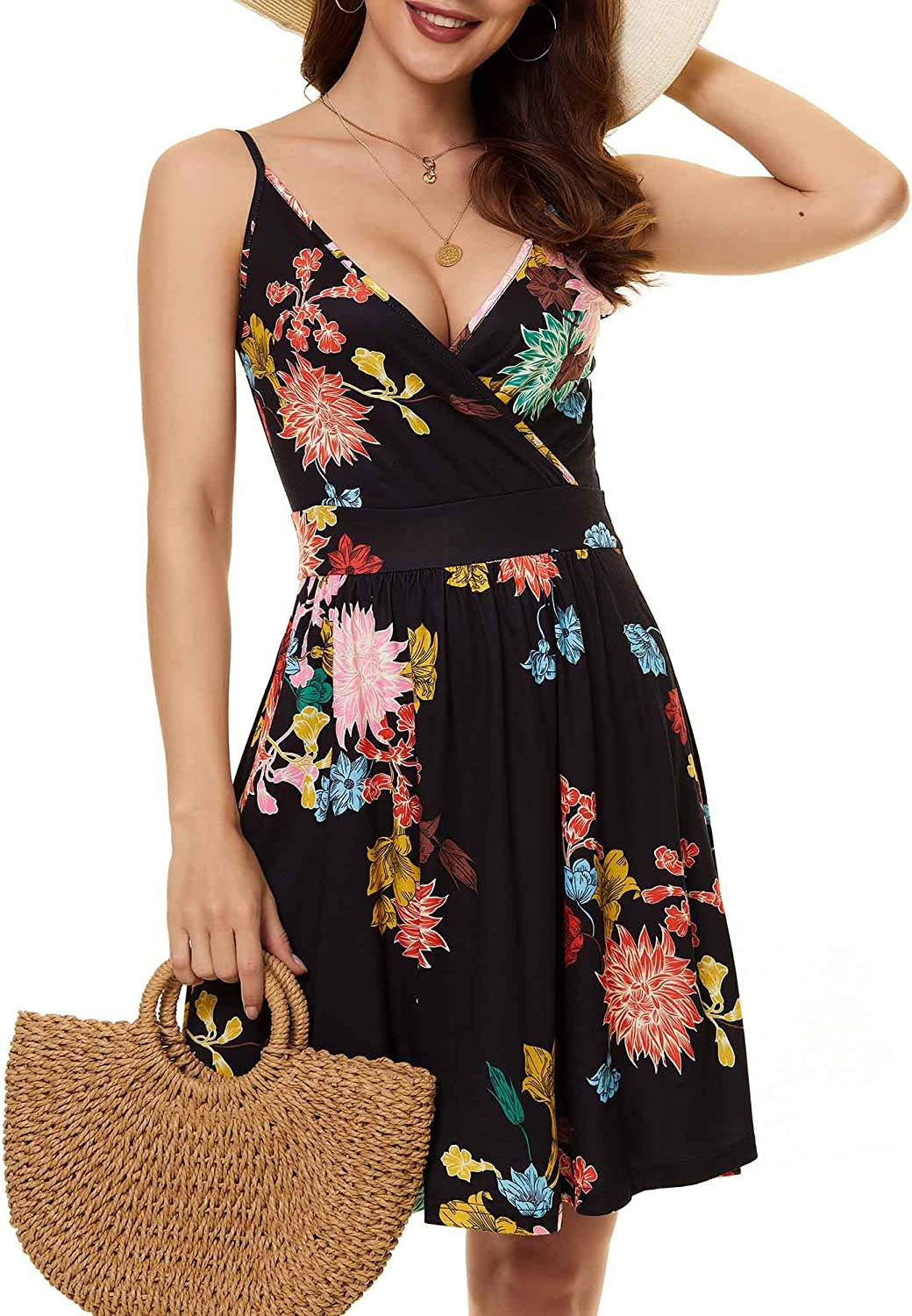 GUBERRY Womens Summer Spaghetti Strap V Neck Wrap Floral Sundress with Pockets