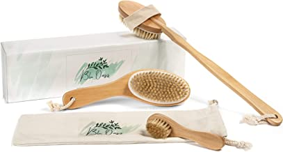 Blu Oasis Premium 3 Piece Dry Brush Set with Travel Bag - Includes Facial Brush and Body Brushes - Exfoliates and Revives Dry Winter Skin, Reduces Appearance of Cellulite & Promotes Lymphatic Flow