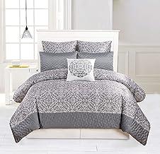 Duck River Ashlea Medallion Comforter Set, Queen, Grey