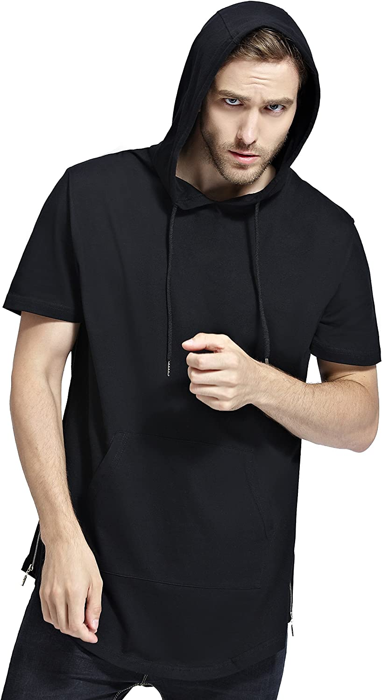 Bertte Mens Hipster Hip Hop Elong Longline Hoodie Side Zipper Short/Long Sleeve T-Shirt