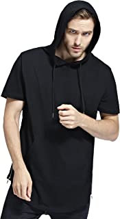 Bertte Mens Hipster Hip Hop Elong Longline Hoodie Side Zipper Short/Long Sleeve T-Shirt