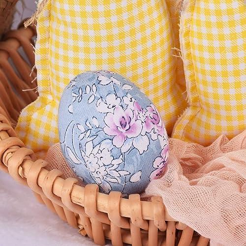 popular Colorful Easter Eggs Plastic Egg Decorative Egg Easter Egg outlet online sale Household Ornaments Easter Decorations Cloth Floral lowest Egg online sale