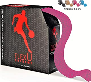 FlexU – Kinesiology Tape Precut; 115 feet Bulk Pack; Pre-Cut or Continuous; Advanced Strength and Flexibility Properties; Longer Lasting, Pro Grade Therapeutic Recovery Sports Tape