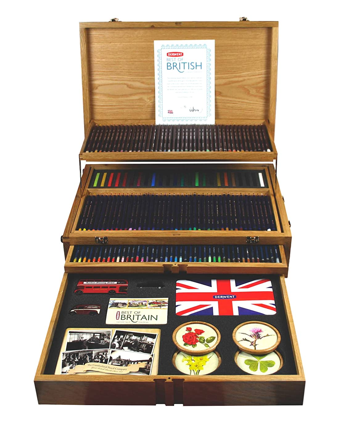 Derwent Fine Art Pencils and Accessories, Best of British, Wooden Box, 165 Pencils (2300674)