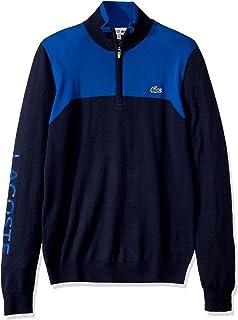 Mens Sport Long Sleeve Color Block 1/4 Zip Sweater