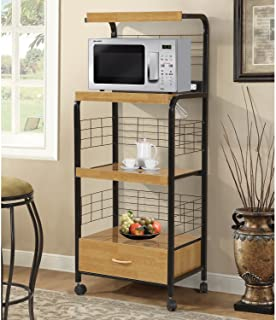 Home Source Industries Metal Microwave Cart with 2 Electrical Outlets, Black with Light Wood Trim