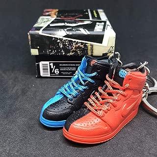 Pair Air Jordan I 1 Retro High Quai 54 Q54 Red Blue Friends & Family OG Sneakers Shoes 3D Keychain 1:6 Figure + Shoe Box