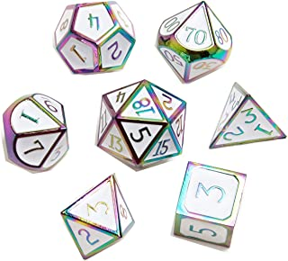 DND Metal Game Dice Set White with Rainbow Edge and Number 7pcs Set for Dungeons and Dragons RPG MTG Table Games D4 D6 D8 ...