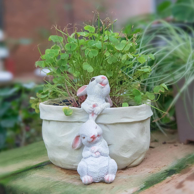 WONDHOME Rabbit Flower Pot Succulent Planter Garden Pots, Decorative Flower Pot, Animal Shaped Cartoon Planter Pots, Art Decorations(No Drainage Hole) : Garden & Outdoor