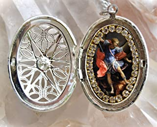 St. Michael Archangel Handmade Locket Necklace Catholic Christian Religious Jewelry Medal Scapular Pendant