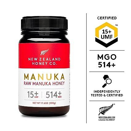 New Zealand Honey Co. Raw Manuka Honey UMF 15+ | MGO 514+, UMF Certified / 17.6oz