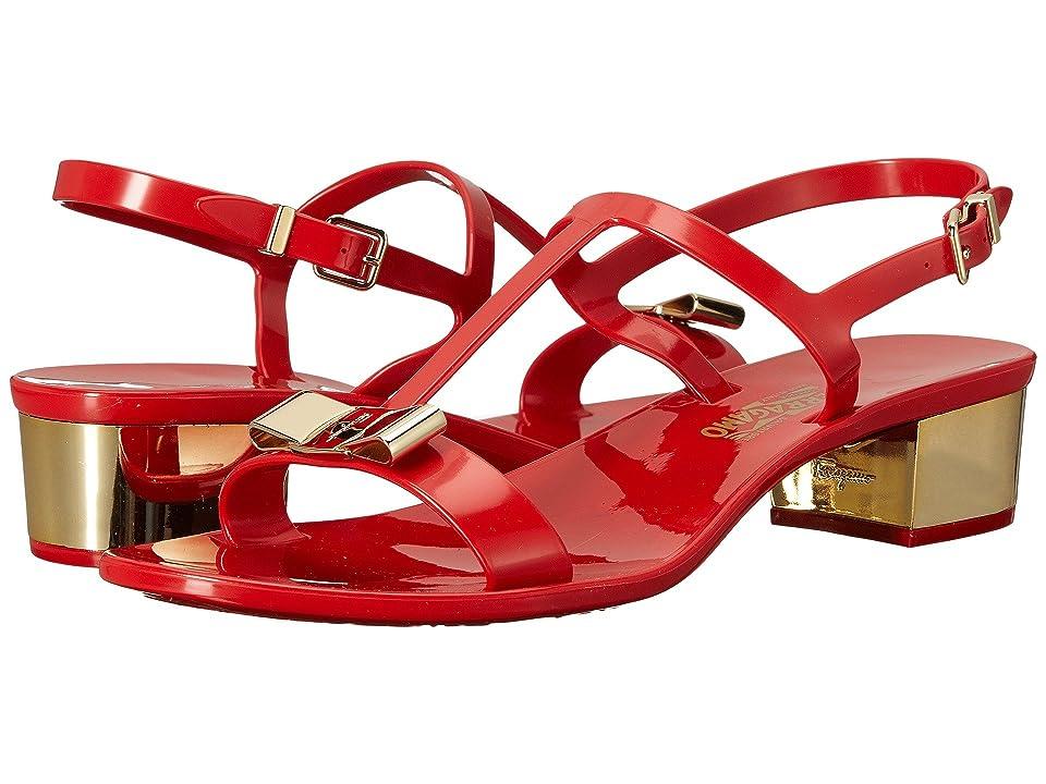 Salvatore Ferragamo PVC Thong with Heel (Lipstick Sandalo PVC) Women