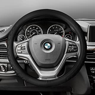 FH Group FH2006 Microfiber Embossed Leather Steering Wheel Cover, Black Color- Fit Most Car, Truck, SUV, or Van