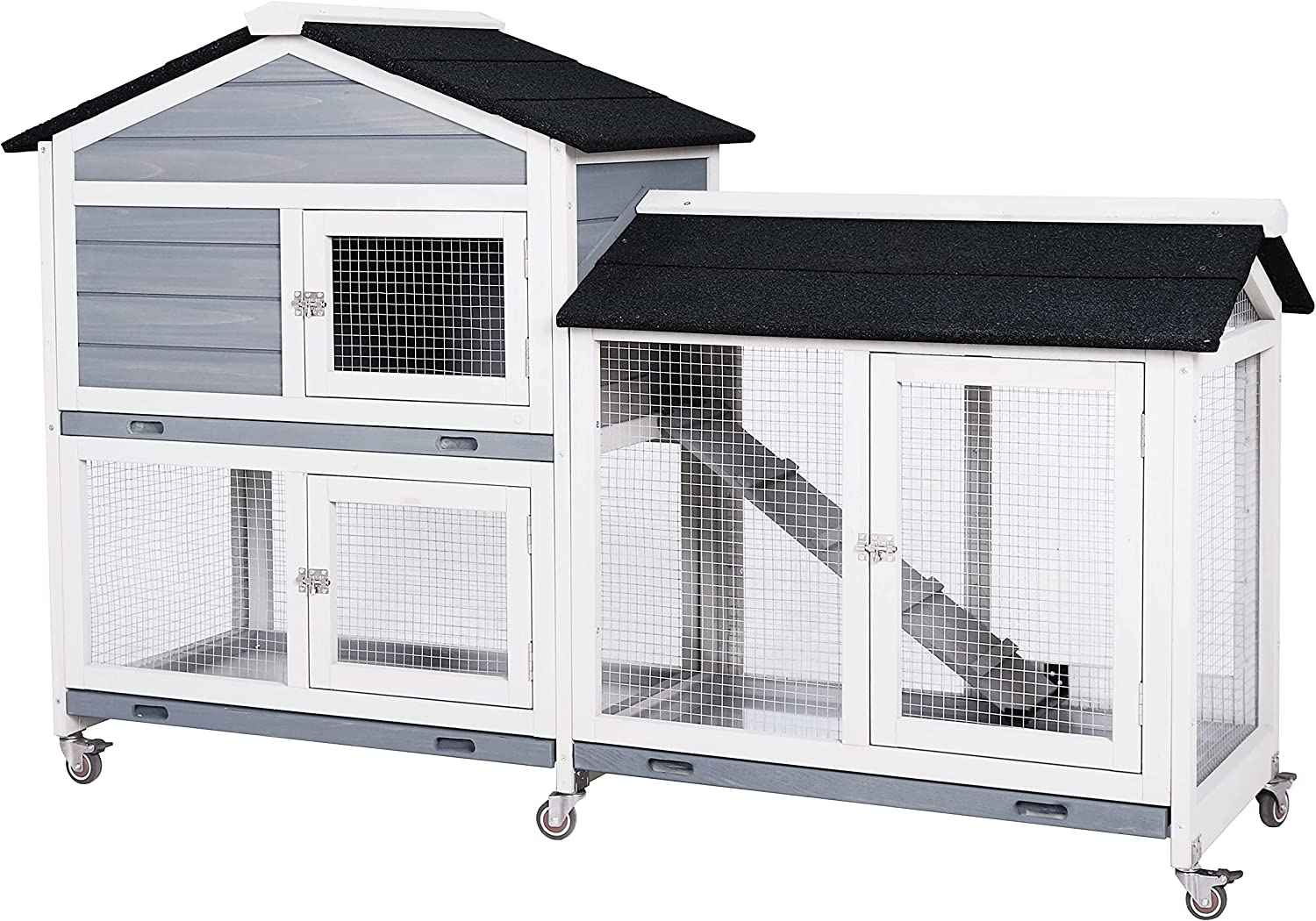 MUPATER Wooden Rabbit Hutch Bunny Cage for Indoor and Outdoor with Casters,  Large Guinea Pig House Hamster Hedgehog Cage with Ramp, Run and Removable  ...