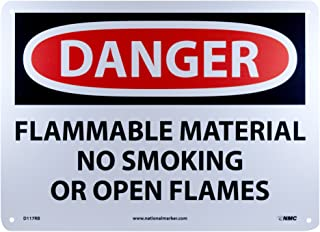 NMC D117RB DANGER - FLAMMABLE MATERIAL NO SMOKING OR OPEN FLAMES Sign - 14 in. x 10 in., Red/Black Text on White, Plastic Danger Sign