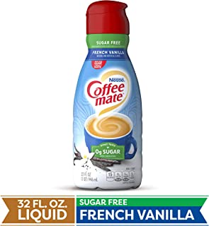 COFFEE MATE Sugar Free French Vanilla Liquid Coffee Creamer 32 Fl. Oz. Bottle | Non-dairy, Lactose Free, Gluten Free Creamer