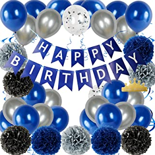 59 Pcs Birthday Party Decorations Kit, Blue Happy Birthday Balloons Banner with Pom Poms Flowers, Handing Swirl, Birthday ...