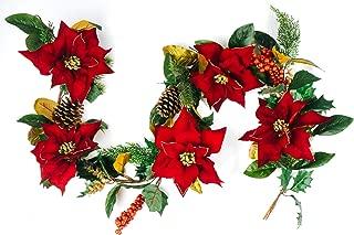 CraftMore Poinsettia Pine Garland 6'