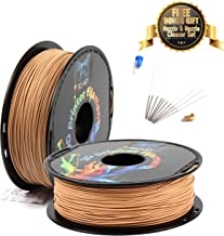 3D Art Professional Printing Filament - 1.75mm ±0.03mm PLA Material for 3D Printer - Super Strength 1kg Spool with Nozzle - No Bubbles, Blob, or Jams - No Heating Bed Needed - Solid Wood Color