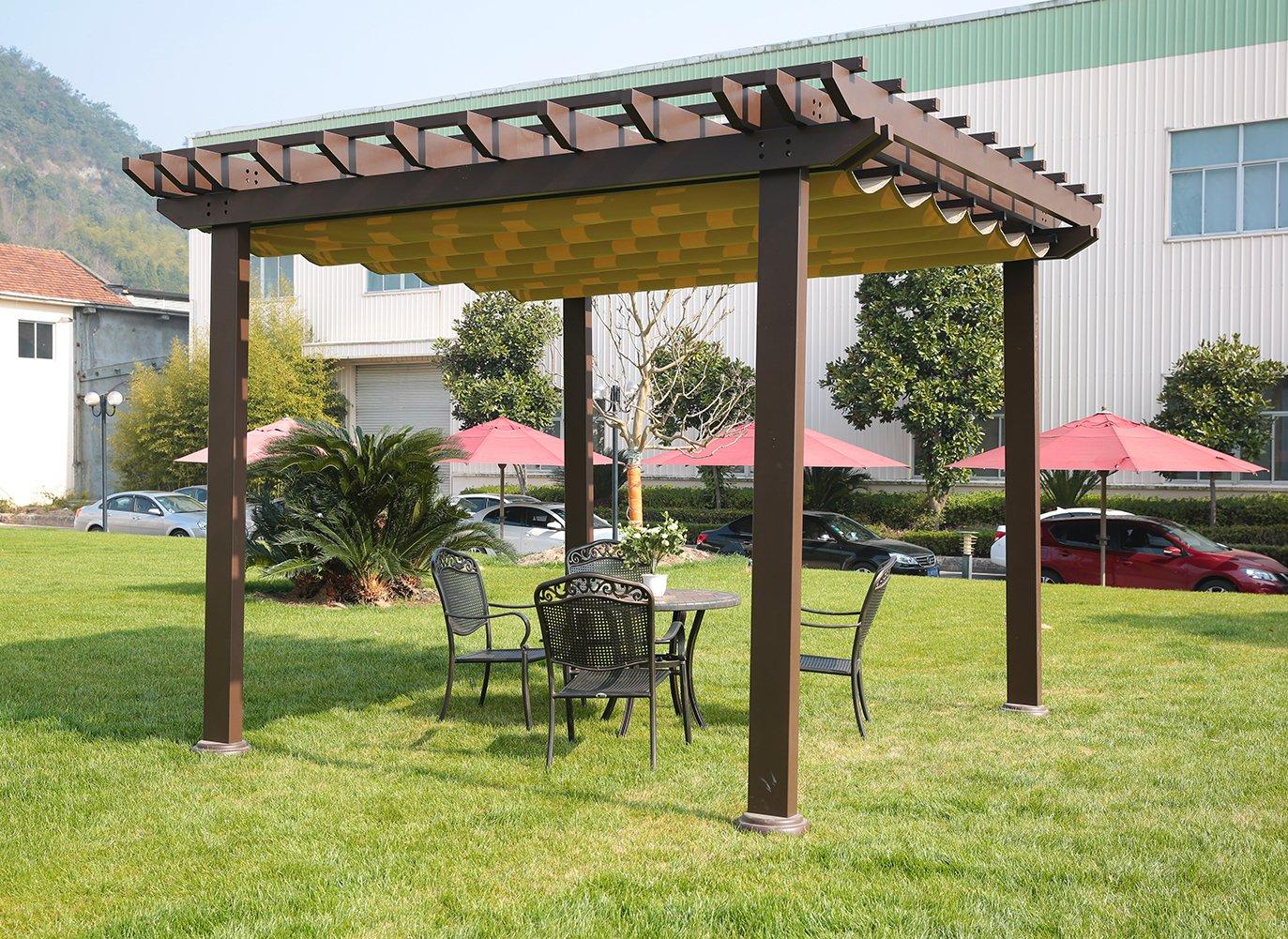 sorara Pergola Marco de aluminio al aire libre Patio Jardín Gazebo con parte superior retráctil toldo: Amazon.es: Jardín