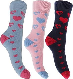 Severyn, Calcetines térmicos con estampado de corazones e interior cardado para mujer (pack de 3)