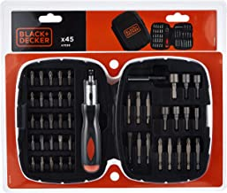 Black+Decker Zestaw grzechotek ręcznych, 45-częściowy (PH1/2/3 SL4/6/7.2; PZ1/2/3; TX10/15/20; H1/2/3; nasadki, magnetyczn...