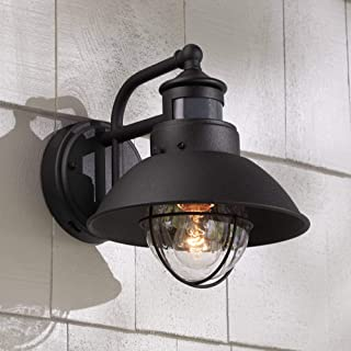 Oberlin Rustic Outdoor Wall Light Black Exterior Fixture Motion Security Dusk to Dawn for House Deck Porch - John Timberland