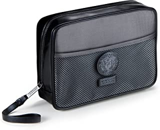 Versace Original Men's Black & Gray Toiletry Pouch Bag Travel Overnight Wash Gym Shaving Case