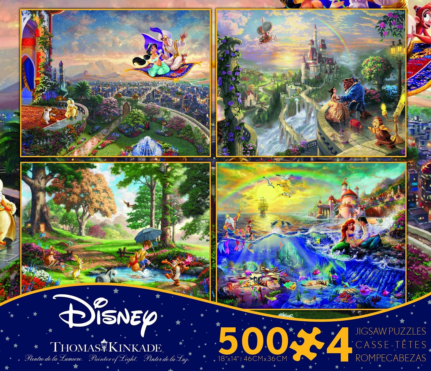 Ceaco Thomas Kinkade The Disney Dreams Collection 4 in 1 Multipack Aladdin, Winnie the Pooh, Beauty & the Beast, The Little Mermaid Jigsaw Puzzles, (4) 500 Pieces : Everything Else