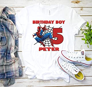 Spiderman birthday shirt family, Superhero Custom t Shirt, Personalized Spider man Shirt for kids and adults, Birthday t-shirt gift K10