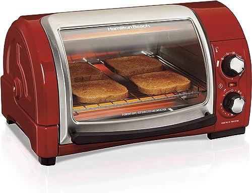 Hamilton Beach 31334Easy Reach Horno tostador, metálico, Rojo, 1