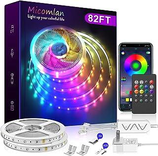 Tira de luces LED de 82.0 ft, Micomlan Music Sync Cambio de color RGB tira de LED con micrófono incorporado, luces LED controladas por aplicación Bluetooth, tira de luz LED 5050 RGB (APP+Remote+Mic+Música)