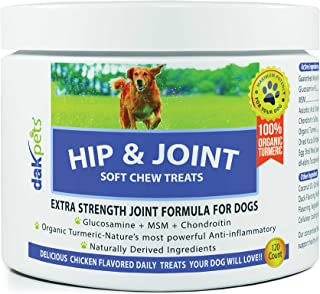 Glucosamine Chondroitin Advanced Hip & Joint Supplements for Dogs, Organic Turmeric, MSM for Dogs, Concentrated Extra Stre...