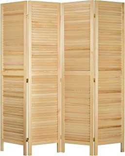MyGift 4-Panel Natural Wood Louvered Room Divider with Dual-Action Hinges