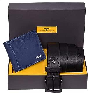 Urban Forest Brian Blue Leather Wallet & Black Casual Belt Combo Gift Set for Men