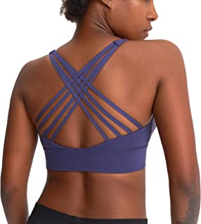 VIVANA SPORTS Women's Light Support Flexible Seamless Sport Training Padded Bra Yoga Tops