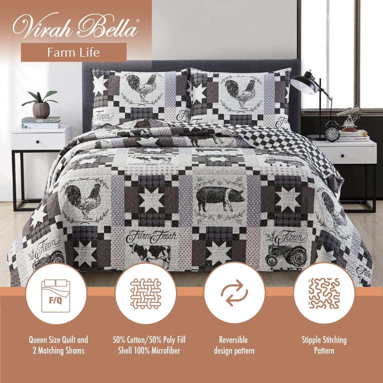 Virah Bella Farm Life Western Bedding Set - Full/Queen Quilt and Standard Shams with Farm Animal and Patchwork Pattern