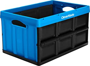CleverMade 46L Collapsible Storage Bins - Durable Folding Plastic Stackable Utility Crates, Solid Wall CleverCrates, Neptu...