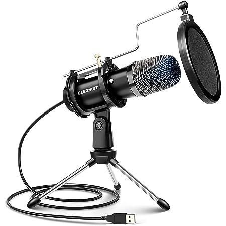 ELEGIANT Micrófono PC USB, Micrófono de Condensador PS4 con Trípode para Grabación de Estudio, Audio Chat en Línea para Facebook TIK Tok Skype Youtube, Ordenador Portátil, Tableta, Móvil, Mac, Negro