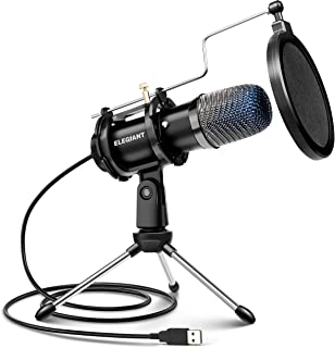 ELEGIANT USB Condenser Microphone, Gaming PC Microphone USB Mic for Computer with Anti Slip Stand Pop Filter Vocal Recordi...