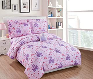 Twin Size 6pc Comforter Set Girls/Teens Princess Castle Palace Crowns Pink Lavender Purple