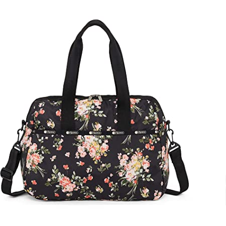 LeSportsac Garden Rose Harper Convertible Crossbody & Top Handle Tote Handbag/Carry-on, Style 3356/Color F632, Modern Multi-color Roses on Classic Black Bag