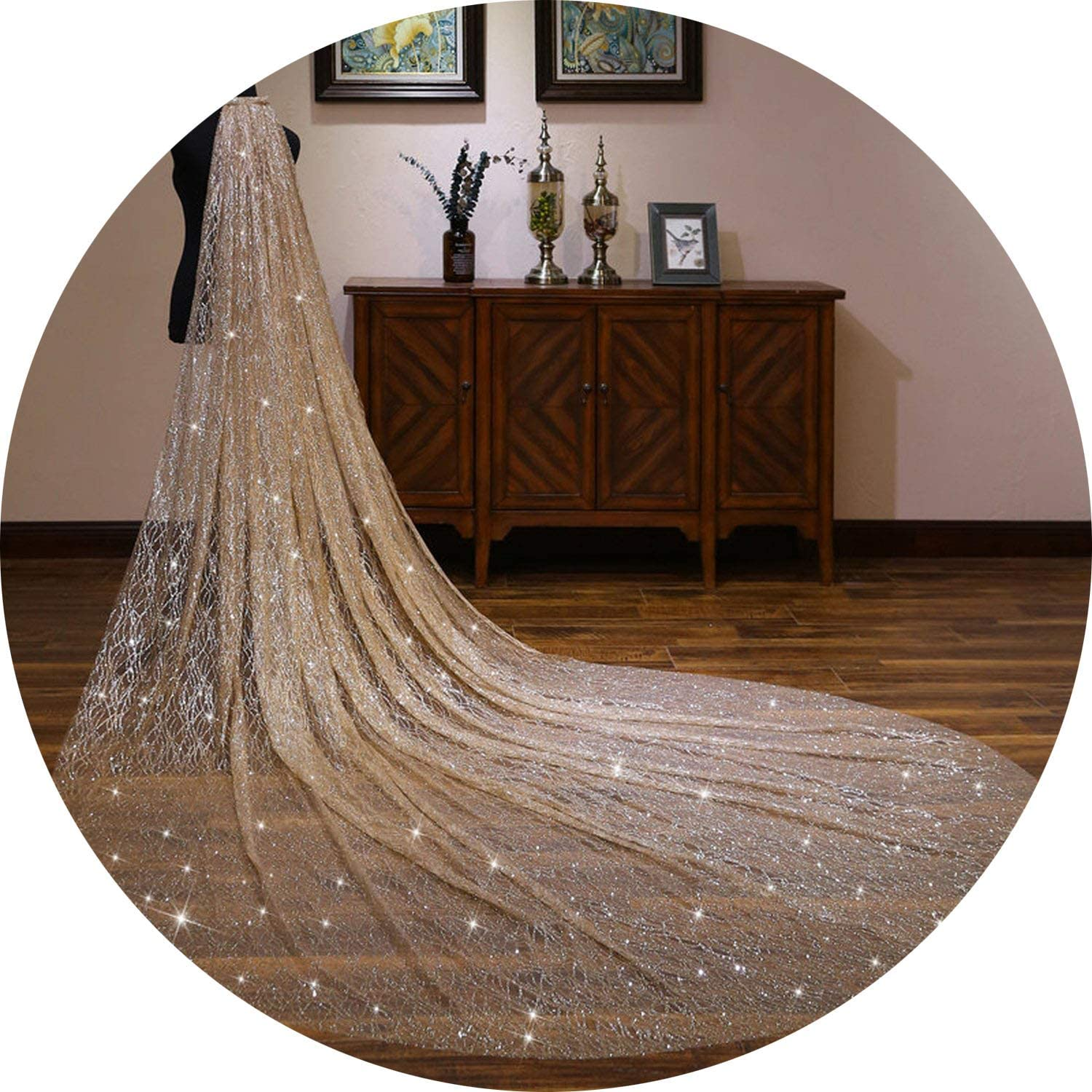 gold Wedding Veil One Layer Bling Sequins Lace 3 Meters Long Cathedral Bridal Veil,gold