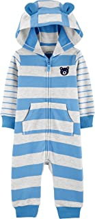 Carter's Boys 1-Piece Zippered Hooded Blue and Gray Striped French Terry Jumpsuit, Size 12 Months