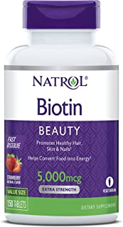 Natrol Biotin Fast Dissolve Tablets, 5,000mcg, 150 Count
