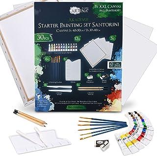 Artina Set Santorin de 30 pièces avec Toile, 12 Couleurs acryliques – kit de Peinture avec Accessoires 5 Toiles pinceaux C...