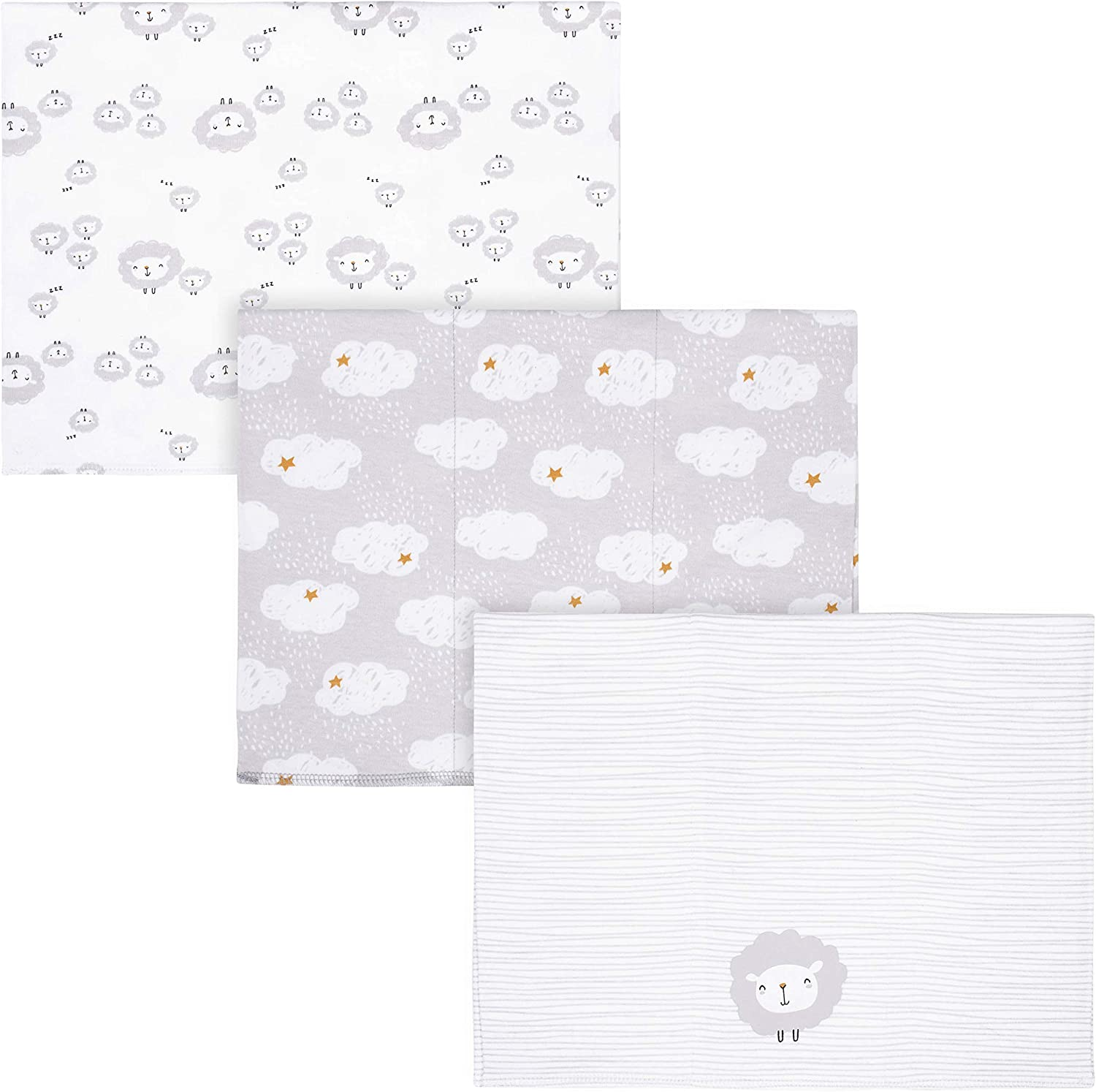 Gerber unisex baby Large-scale sale lowest price 3 Pack Knit Cloth Whi Burp Lamb Handkerchief