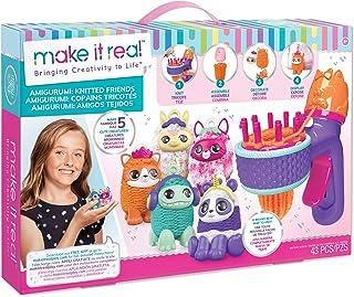 Make It Real - Mini Gurumi Maker - Amigurumi Knitted Friends - Kids Crochet Kit for Beginners - Includes Crochet Hook, Kni...
