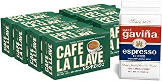 Café La Llave Espresso Dark Roast Coffee Bricks (7 X 10 Oz.) Café Gaviña Espresso Brick Bonus (1 X 10 Oz), Espresso